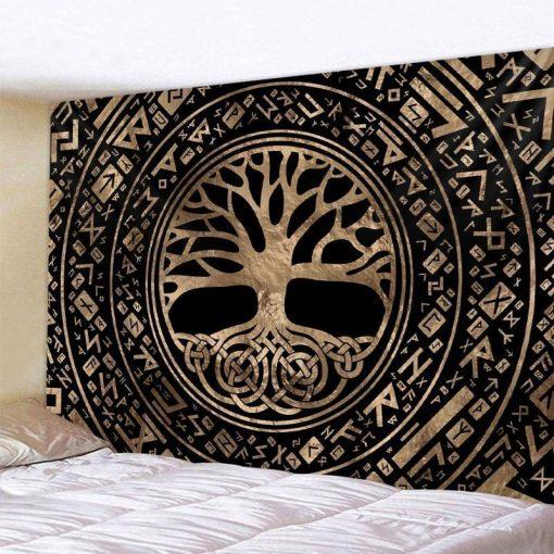 Baum und Runen Wandbehang Mandala Stil